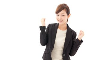 a young businesswoman cheering